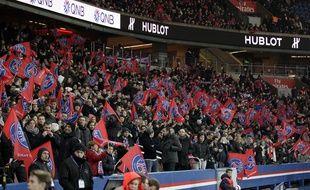 Les supporters du PSG lors du match au Parc contre l'OL, le 13 décembre 2015.