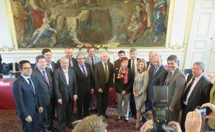 L'Hôtel de ville de Strasbourg a accueilli les maires des principales villes et les présidents des grandes agglomérations de la future région Alsace-Lorraine-Champagne-Ardenne, le 13 avril 2015.
