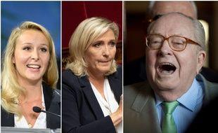 De gauche à droite : Marion Maréchal, sa tante Marine Le Pen, et Jean-Marie Le Pen.
