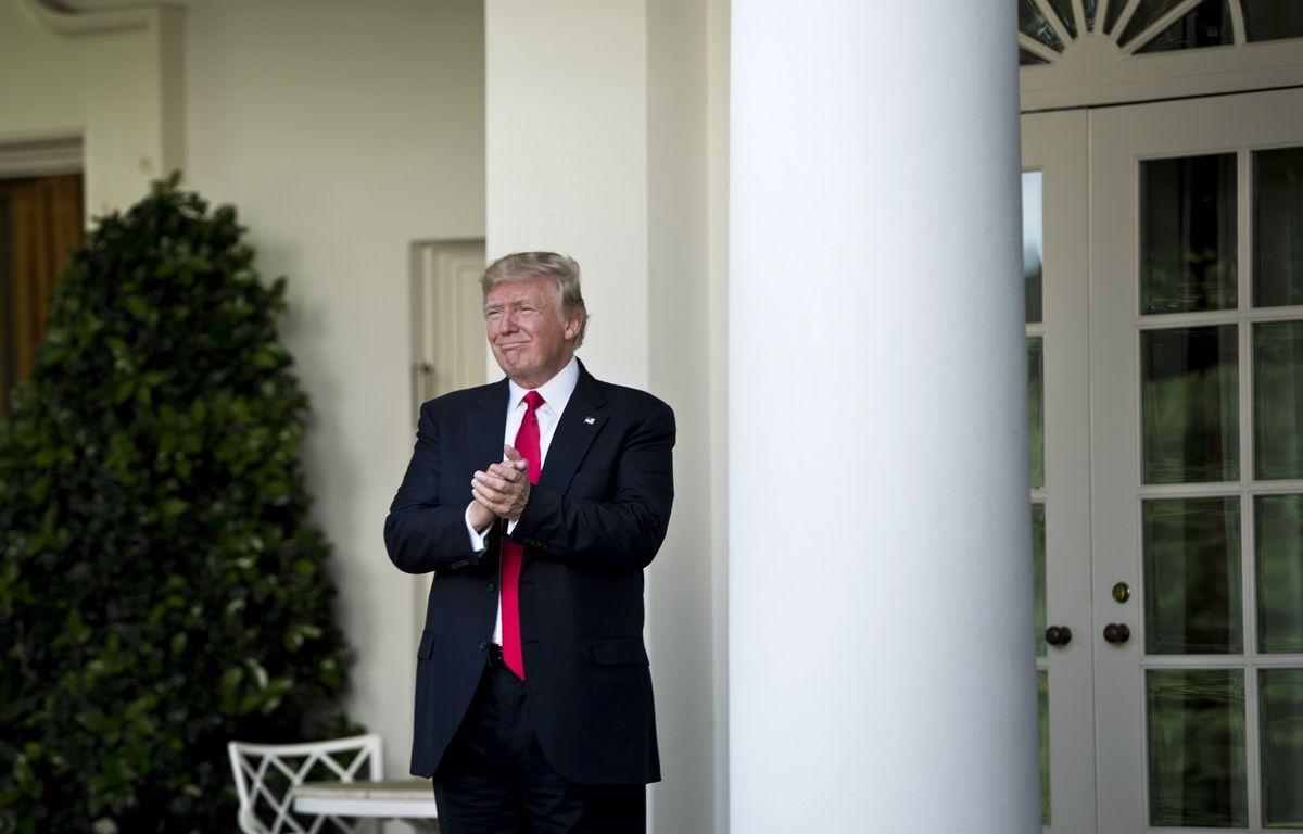 Donald Trump après son annonce de sortir des accords de Paris, le 1er juin 2017 à la Maison-Blanche, Washington.  – Brendan Smialowski / AFP