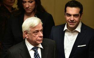 Le président grec Prokopis Pavlopoulos et le Premier ministre Alexis Tsipras le 13 mars 2015