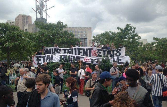 Les manifestants onr rejoint Place d'Italie depuis la Bastille, mardi 28 juin 2016