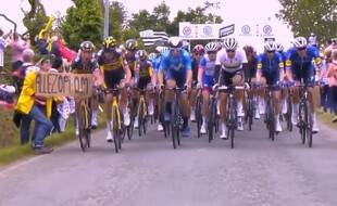 Une spectatrice brandissant une pancarte Allez Opi Omi a provoqué la chute d'une bonne partie du peloton du Tour de France le 26 juin lors de l'étape entre Brest et Landerneau.