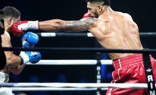 Tony Yoka lors de son dernier combat en date, contre le Belge Ali Baghouz, le 16 décembre 2017 à Boulogne-Billancourt.