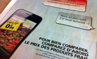 La publicité publiée par Auchan en réponse aux centres E. Leclerc le 25 avril 2012.