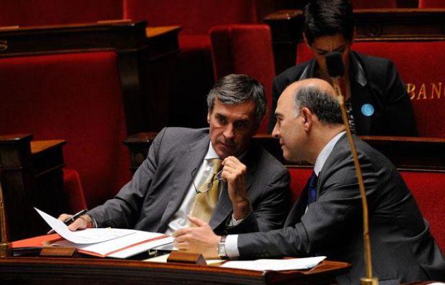 Jérôme Cahuzac et Pierre Moscovici à l'Assemblée nationale, le 16 juillet 2012.