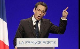Nicolas Sarkozy en meeting à Clermont-Ferrand, le 28 avril