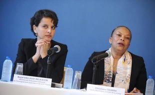 Les ministres de la Justice Christiane Taubira (d) et de l'Education Najat Vallaud-Belkacem, le 4 mai 2015 à Grenoble