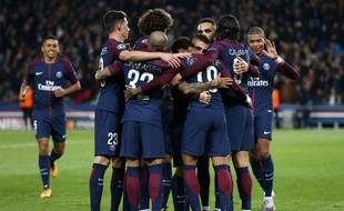 Les joueurs du Paris Saint-Germain, le mardi 31 octobre 2017