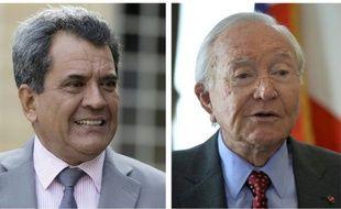 Un montage d'une photo du président de la Polynésie française, Edouard Fritch prise le 16 avril 2015 et d'une photo du sénateur Gaston Flosse qui date du 23 juillet 2013