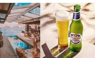 Photo de l'incroyable bar flottant le OFF Paris Seine et d'une bouteille de Peroni