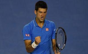 Le Serbe Novak Djokovic lors de sa victoire à l'Open d'Australie contre Andy Murray, le 1er février 2015, à Melbourne.