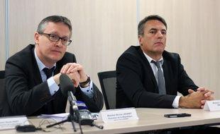 Le procureur de la République de Rennes Nicolas Jacquet et Gilles Soulie, directeur de la police judiciaire de Rennes.