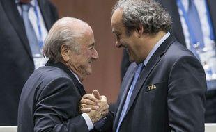 Michel Platini et Sepp Blatter à la FIFA le 29 mai 2015.