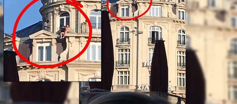 Que faisait cet homme nu sur une corniche du Carlton?