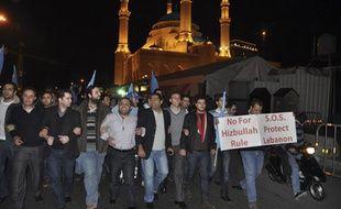Lundi 24 janvier vers 21h (heure locale), des manifestants proches de la majorité parlementaire du Premier ministre Saad Hariri, défilent place des Martyrs pour protester contre le «coup de force du Hezbollah».