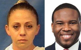 La policière de Dallas, Amber Guyger (gauche), a abattu son voisin du dessous, Botham Shem Jean.