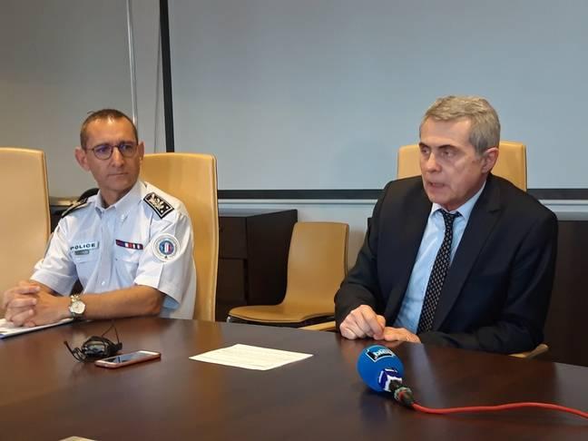 Nelson Bouard, le directeur départemental de la sécurité publique en Haute-Garonne, et le procureur Dominique Alzéari, le 26 juin 2020 au tribunal judiciaire de Toulouse.