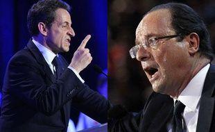 Nicolas Sarkozy et François Hollande, candidats à l'élection présidentielle 2012.