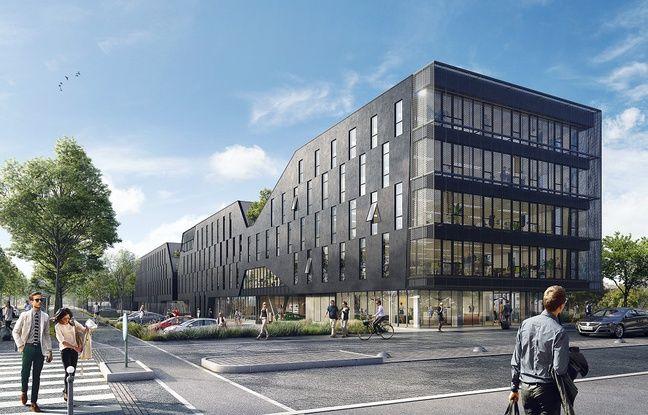 Visuel du futur visage de la nouvelle préfecture, en construction à Rennes.