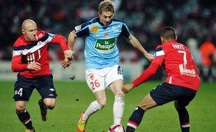 Nolan Roux, contre Lille, le 26 novembre 2011, au Stadium Nord de Villeneuve d'Ascq.