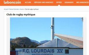 Des supporters du FC Lourdes ont mis le club de rugby en vente sur le site Le Bon Coin, le 29 janvier 2017.