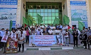 Lors d'une manifestation de soutien aux évadés, dans la bande de Gaza.