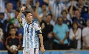 Lionel Messi célèbre son but face à la Bosnie-Herzégovine, le 15 juin 2014, à Rio.