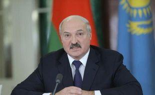 Le président bélarusse Alexander Loukachenko donne une conférence de presse à Moscou le 23 décembre 2014