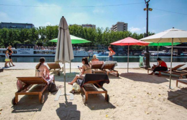 Vue sur le bassin de la Villette et sa plage d'été