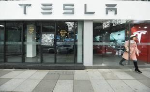 Un concessionnaire Tesla en Chine, le 4 janvier 2021.