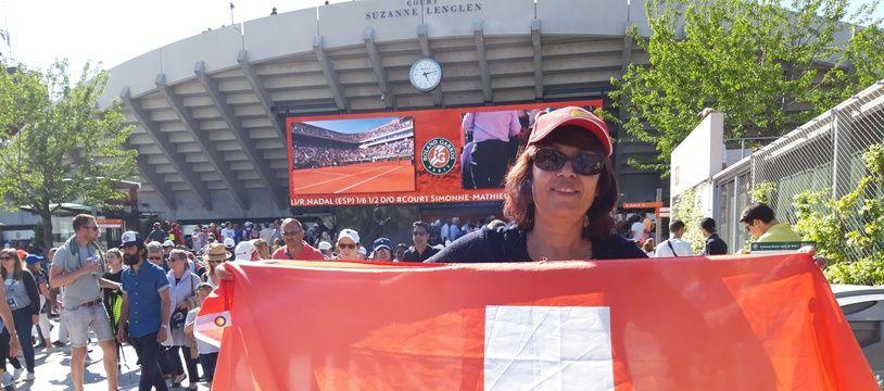 Viviane, fan absolue de Roger Federer, le 31 mai 2019 à Roland-Garros.