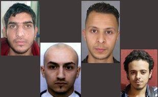 Montage de photos des terroristes qui ont attaqué Paris le 13 novembre 2015. De gauche à droite : Ahmad Al Mohammad, Samy Amimour, Salah Abdeslam et Bilal Hadfi.
