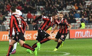 Mickaël Le Bihan laisse exploser sa joie après avoir inscrit le but de la victoire lors de Nice-Montpellier (2-1), le 24 février 2017.