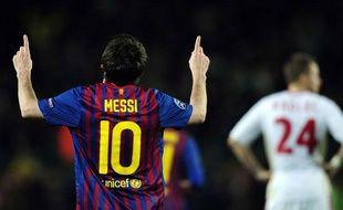 Lionel Messi, auteur d'un quintuplé face à Leverkusen, le 7 mars 2012