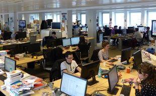 Les bureaux de la rédaction de 20 Minutes, à Paris.