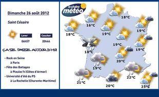 Carte météo du 26 août 2012.