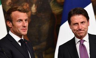Emmanuel Macron et Giuseppe Conte, le 18 septembre 2019 à Rome, lors d'une conférence de presse commune.