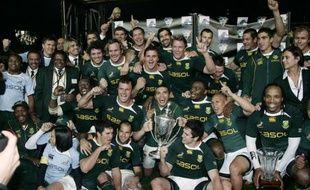 Les rugbymen sud-africains vainqueurs du Tri Nations 2009, le 12 septembre 2009 à Hamilton.