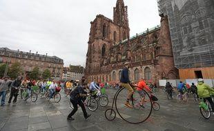 Strasbourg le 31 aout 2014. Tournage de la vidéo BikingStrasbourg, pour faire decouvrir Strasbourg autrement