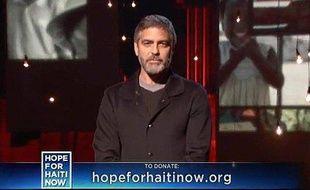 George Clooney, lors du téléthon pour Haïti, le 22 janvier 2009
