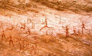 Peintures rupestres de Tadrart Acacus (Libye) datées entre 12 000 avant J.-C. à 100 après J.-C