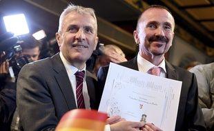Karl Kreile et Bodo Mende sont devenus le premier couple gay à se marier en Allemagne, ici à Berlin le 1er octobre 2017.
