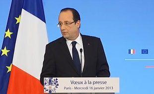 François Hollande à l'Elysée pendant les voeux à la presse, le 16 janvier 2013.