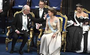 Le roi Carl XVI Gustaf et la reine Silvia, souverains de Suède. (illustration)
