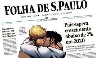 Détail de la Une de l'édition du quotidien brésilien «Folha de S. Paulo» datée du 7 septembre 2019.