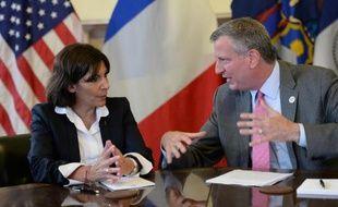La maire de Paris Anne Hidalgo rencontre le maire de New York Bill de Blasio, le 30 mai 2014 à New York