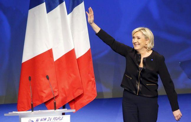 Marine Le Pen, présidente du Front national, lors d'un discours de campagne à Lyon le 5 février 2017