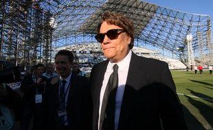 L'ancien président de l'OM Bernard Tapie au stade Vélodrome en 2013.
