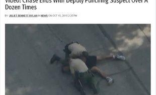 Image de policiers américains frappant un homme arrêté pour un cambriolage.